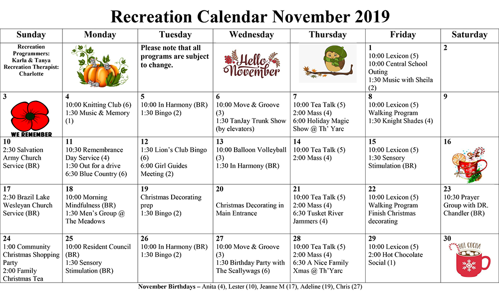 November Recreation Calendar 2019